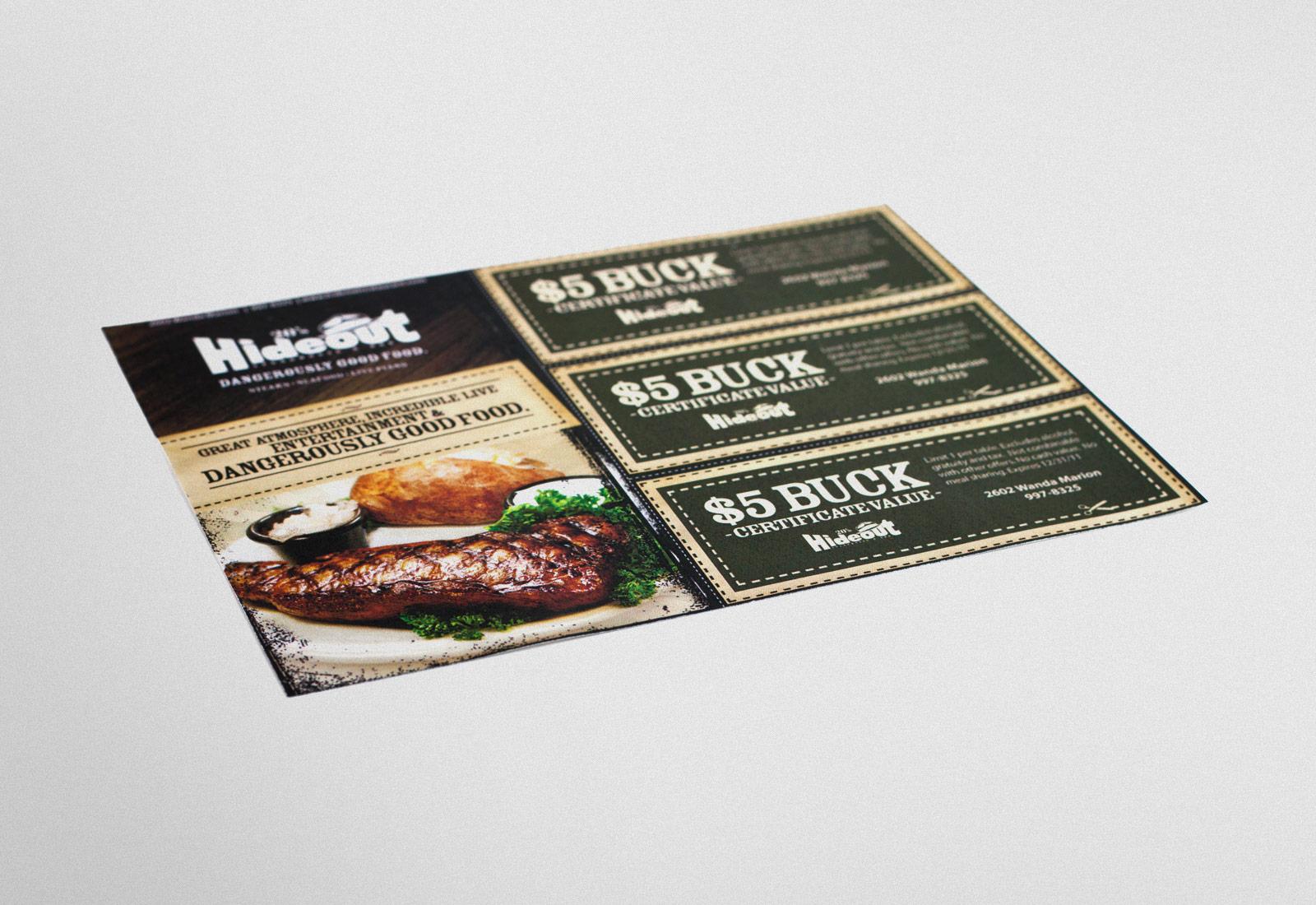 Hideout Steakhouse $5 Buck Certificate