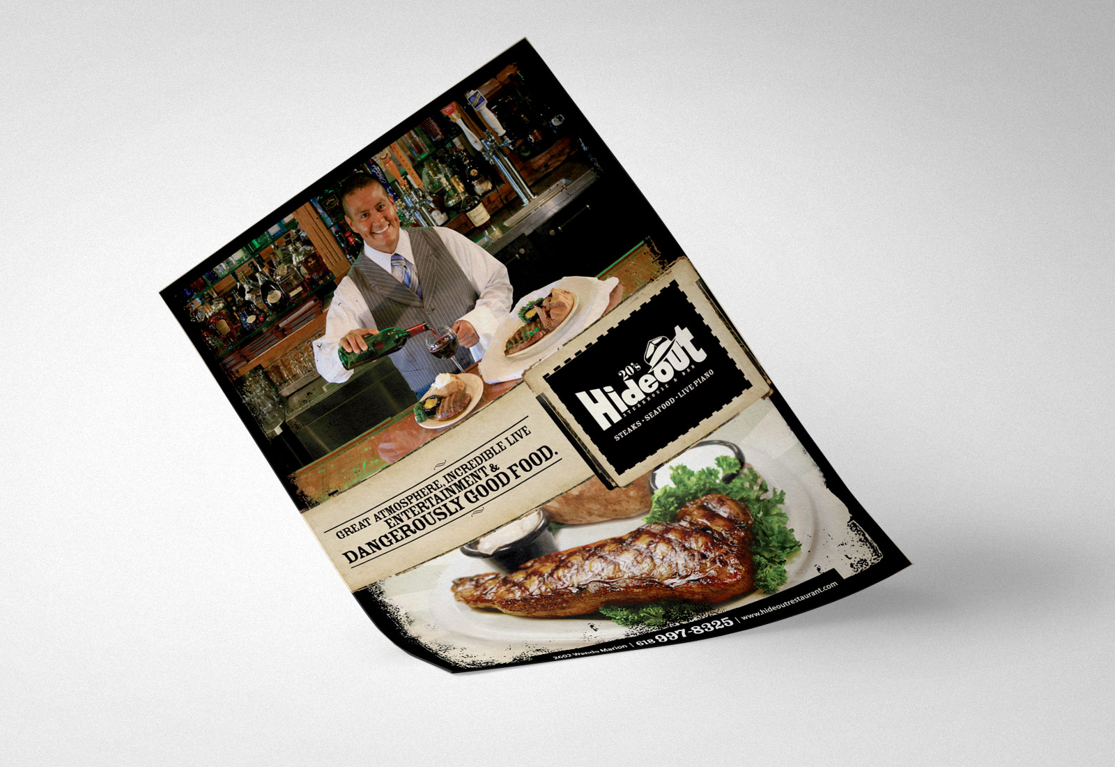Hideout Steakhouse Magazine Ad