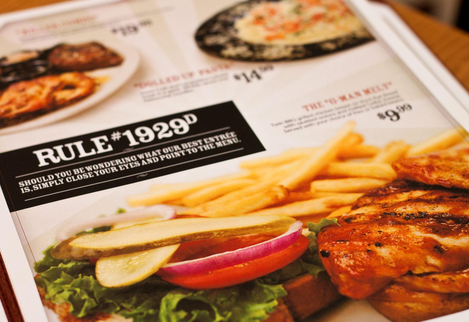 Hideout Steakouse Menu Spread