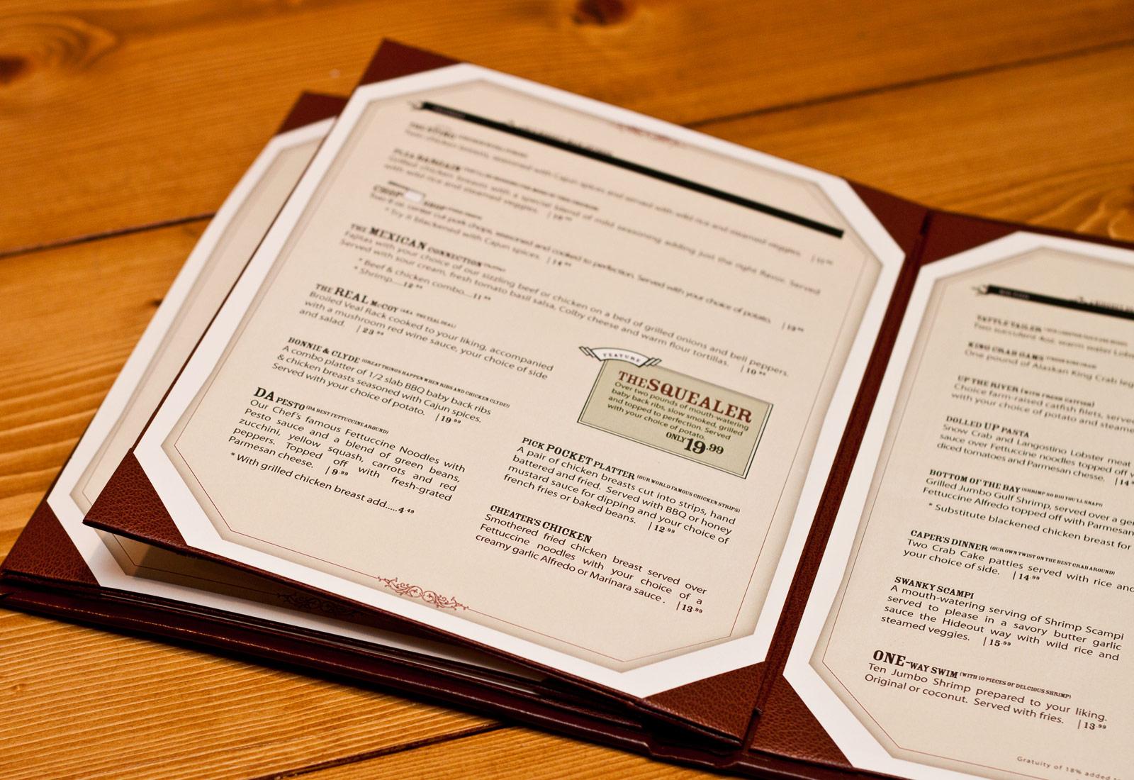 Hideout Steakouse Menu Design