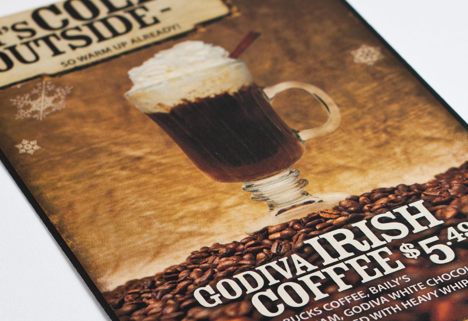 Hideout Steakhouse Godiva Irish Coffee Table Tent