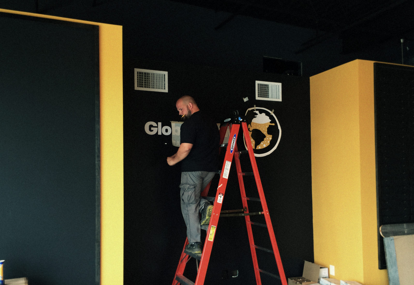 Global Brew Logo Application on Wall