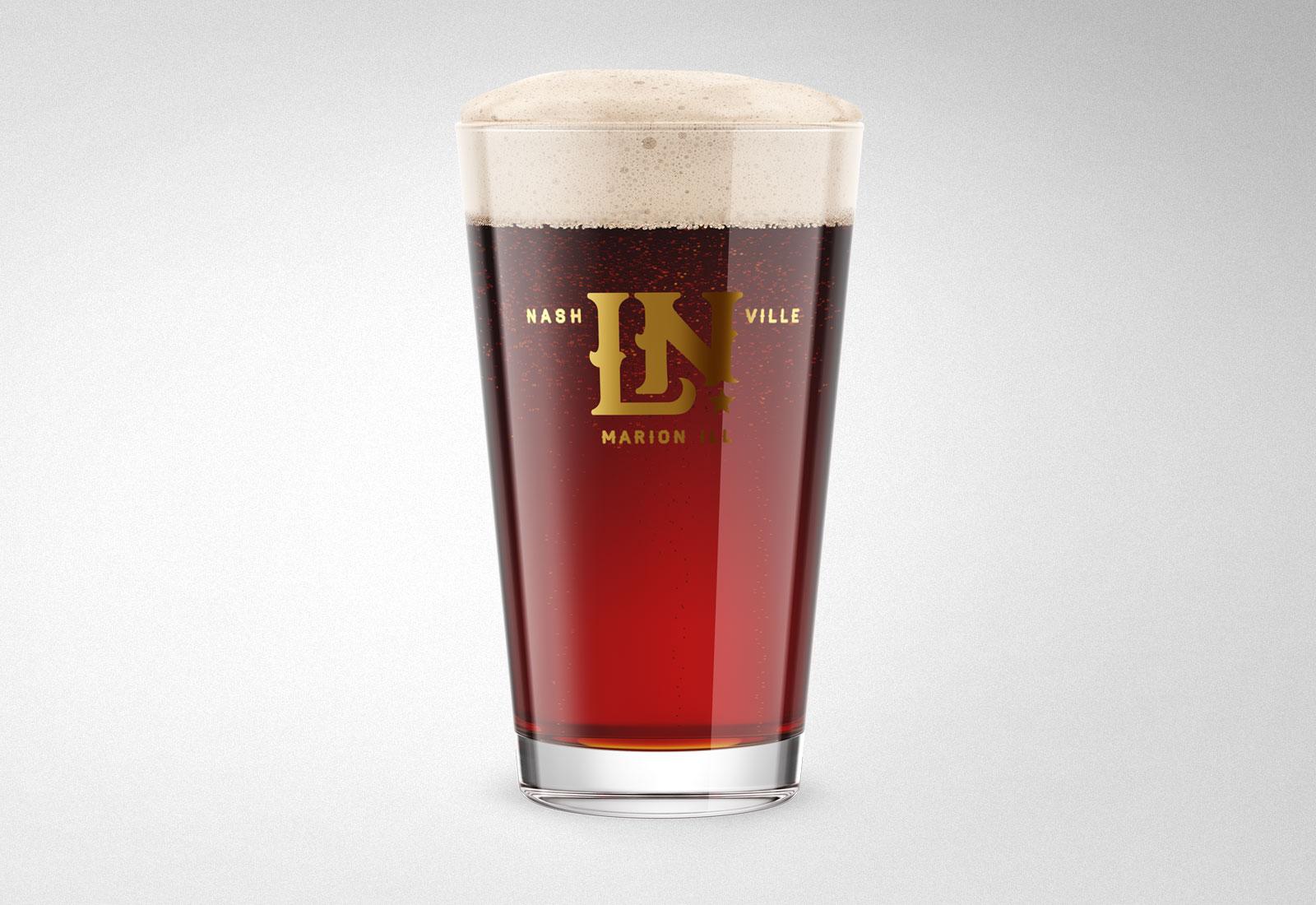 Little Nasvhille Custom Logo on Beer Pint Glass Gold Foil