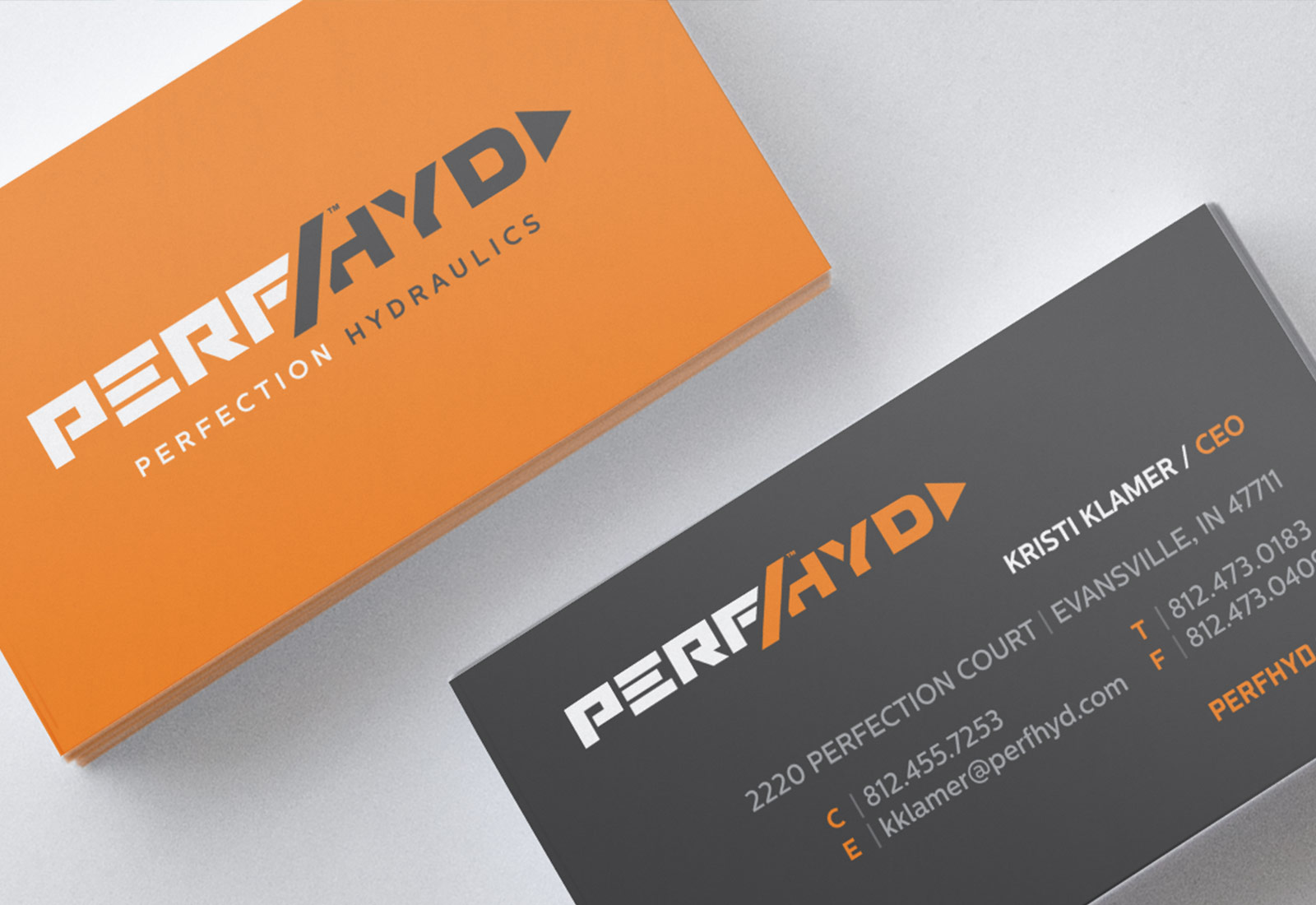 Business Card Design and Printing for Perfection Hydraulics Company in Evansville