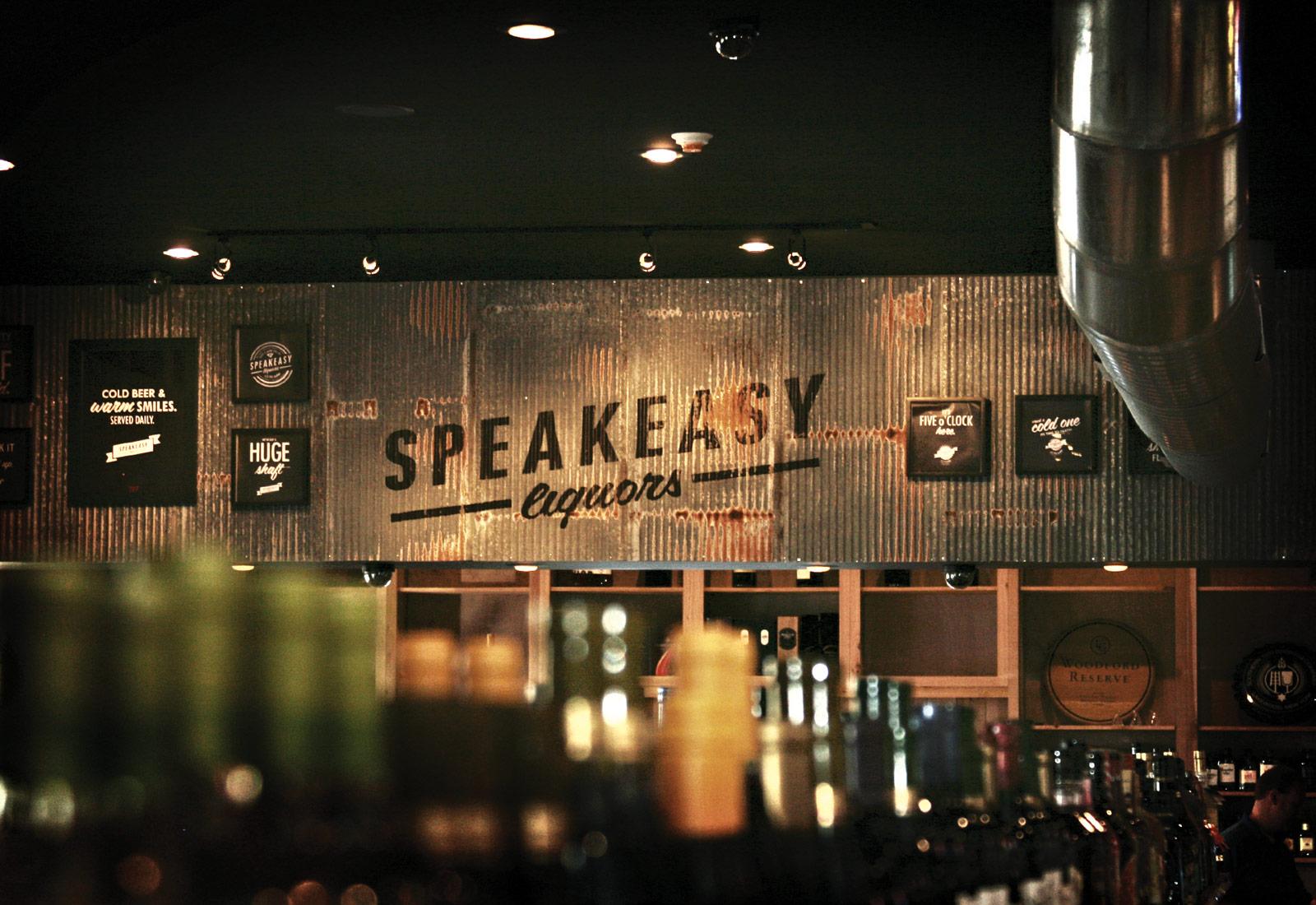 Speakeasy Liquors Metal Sign & Shirts