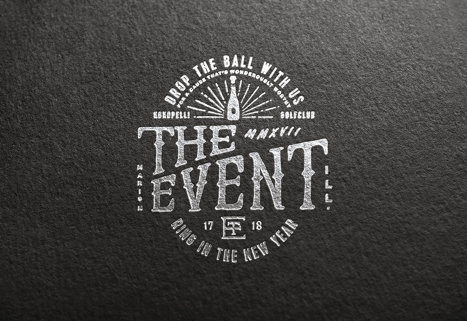 The Event New Years Eve Celebration Logo Design Foil Embossed