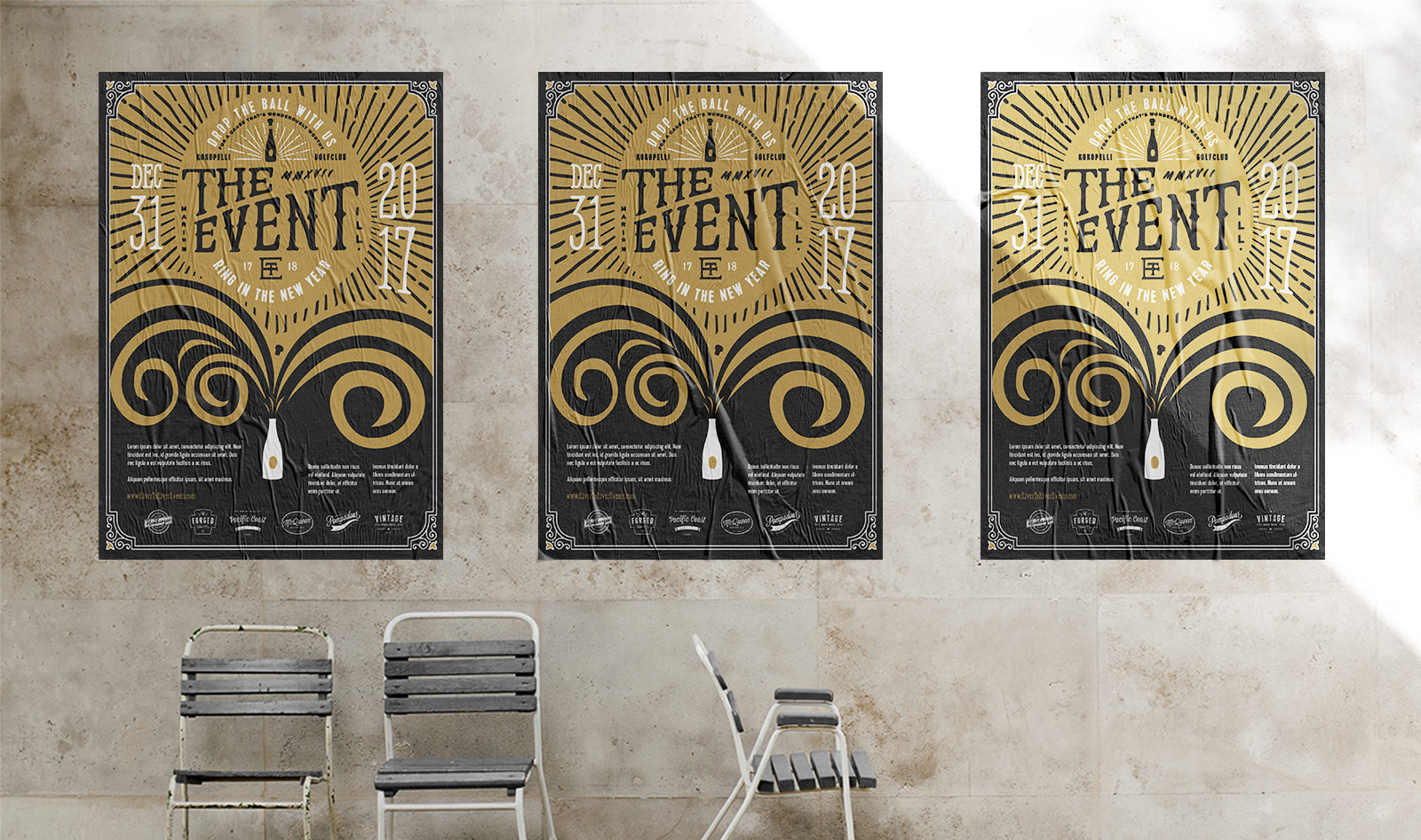 The Event New Years Eve Celebration Poster Graphic Design For Fundraiser